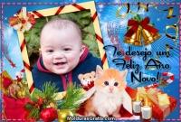 Gatinho, velas, Natal e Ano Novo