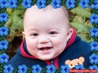 Borda com flores azuis