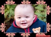Borda com ursinhos e corações rosa-claro