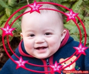 Borda redonda com estrelas cor-de-rosa
