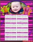 Calendário cor-de-rosa com bichinhos