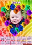 Calendário com flores coloridas