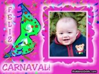 Feliz carnaval com fundo rosa