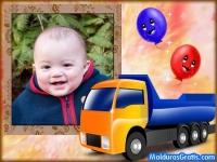 Borda com balões e um Caminhão