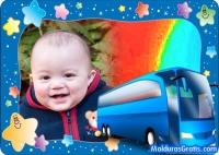 Borda com estrelas coloridas e um Ônibus azul