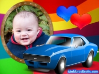 Carro azul e corações
