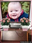 Televisão Sony com vasos de flores ao lado