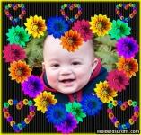 Corações de flores coloridas