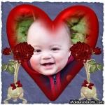 Coração e rosas vermelhas