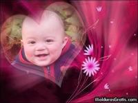 Coração e flores cor-de-rosa