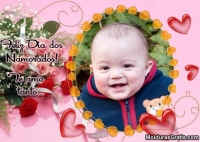 Corações e buquê de rosas