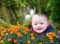 Paisagem com cachoeira e flores