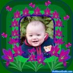 Borda verde com flores cor-de-rosa