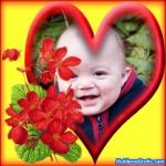 Coração e flores vermelhas
