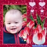 Corações e um vaso de flores