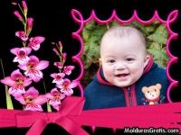 Cartão com um ramo de flores cor-de-rosa