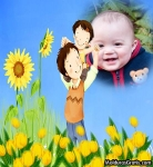 Pai e filha em um campo florido