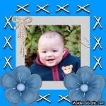 Cartão com laço de pérolas e flores azuis