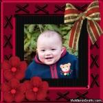 Cartão cor-de-rosa com laços e flores