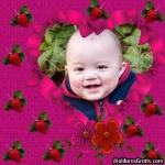 Morangos, flores e coração feito de laços