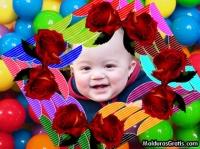 Bolas coloridas e Rosas vermelhas