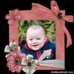 Cartão cor-de-rosa com flores e laços